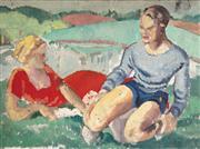 Sale 9021 - Lot 508 - Arthur Murch (1902 - 1989) - Idle Duo 28 x 40.5 cm