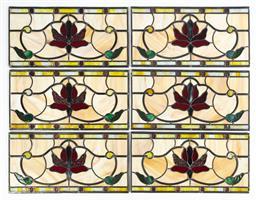 Sale 9130S - Lot 65 - Set of six leadlight panels with brass frames, Frame size 60cm x 30.5cm