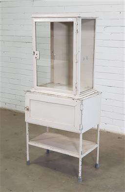 Sale 9157 - Lot 1084 - Vintage metal and glass dental cabinet (h:149 x w:66 xd:40cm)