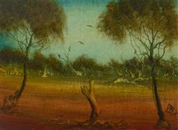 Sale 9199J - Lot 23 - Pro Hart - Landscape with Birds 21cm x 28cm