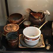 Sale 8351 - Lot 90 - Copper Saucepan with Other Copper Wares incl. Miniature Coal Scuttle