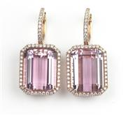 Sale 8451J - Lot 320 - A PAIR OF LARGE KUNZITE AND DIAMOND EARRINGS; each set in 18ct pink gold with an emerald cut kunzite to surround and hoop fitting se...