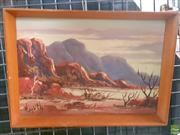 Sale 8582 - Lot 2146 - Henk Guth West MacDonnell Ranges, Central Australia Oil on Board, SLL 17x25cm