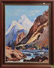 Sale 8592 - Lot 2014 - Artist Unknown - Mountain Scene, oil on canvas, 70 x 55cm, signed Taylor lower right