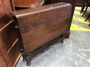 Sale 8666 - Lot 1077 - Very Narrow Oak Drop Side Table, on turned gate-legs with long leaf