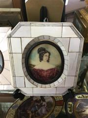 Sale 8730B - Lot 44 - Ornate Metal & Ivory Framed Handpainted Miniature depicting a Classical Lady