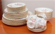 Sale 8891H - Lot 42 - A part Royal Albert bone china Constance pattern dinner service, comprising 8 dinner plates, 8 side plates, 8 saucers, 8 bowls and...