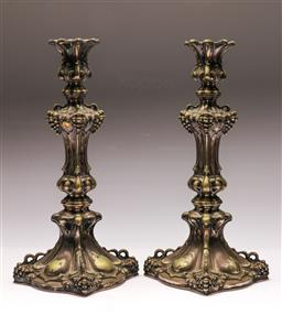 Sale 9122 - Lot 59 - A Pair of Continental Silver (800) candlesticks (H:36cm) (wt957g)