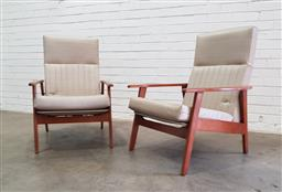 Sale 9108 - Lot 1028 - Pair of vintage timber frame armchairs (h90 x w55 x d72cm)