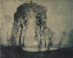 Sale 9125 - Lot 567 - Sydney Long (1871 - 1955) Moonrise aquatint, ed. 1st state 14 x 7.5 cm (frame: 36 x 36 x 2 cm) signed lower right. Provenance: The E...