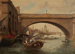 Sale 9141 - Lot 582 - Artist Unknown (C19th) Waterloo Bridge, London oil on canvas 44.5 x 62 cm (frame: 63 x 82 x 6 cm) unsigned, inscription verso