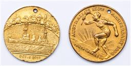 Sale 9144 - Lot 51 - Duo of Australian gilt metal commemorative medallions - converted to pendants