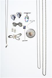 Sale 8293 - Lot 314 - A GROUP OF SILVER JEWELLERY; a 5 cultured pearl brooch by Mikimoto, a pair of cultured pearl earrings and pendant necklace, marcasit...