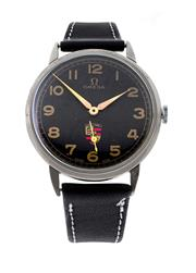 Sale 8522A - Lot 3 - A vintage Omega wristwatch with painted black dial and Porsche emblem, cal 265 manual winding, in stainless case. 35mm, restored and...