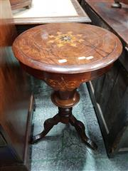 Sale 8814 - Lot 1054 - Victorian Walnut Sewing Table, with octagonal hinged top (damaged at hinges), on tapering & turned pedestal, on three outswept legs