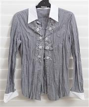 Sale 8902H - Lot 136 - A Taifun pinstripe shirt with embroidered flowers to centre and white sleeves and cuffs, size S