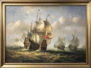Sale 8958 - Lot 2030 - Artist Unknown Battle of Trafalgar acrylic on canvas, 102 x 135cm (frame)