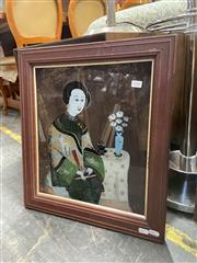 Sale 9082 - Lot 2086 - Chinese School Woman with Red Fan, oil on glass, frame: 41 x43, unsigned,