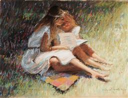 Sale 9125A - Lot 5060 - Dale Marsh - Girls Reading, 1989 30 x 39 cm (frame: 58 x 65 x 4 cm)