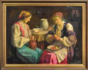 Sale 8297 - Lot 574 - Károly Krusnyák (1889 - 1960) - Women Preparing a Meal 58 x 77.5cm