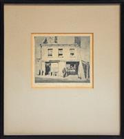 Sale 8316 - Lot 587 - Lionel Lindsay (1874 - 1961) - Mr Turners Shop 11 x 13cm