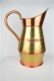Sale 8381 - Lot 83 - Impressive Copper Bound Brass Ewer