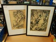 Sale 8622 - Lot 2022 - Pair of Norman Lindsay monolithographs, 40 x 30.5cm, each (frame size)