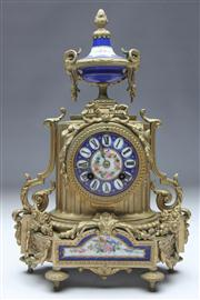 Sale 8662 - Lot 80 - Louis XVI Style Gilt & Porcelain Mounted Clock (no pendulum)