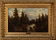 Sale 8804A - Lot 139 - E Le Gallais - Mountain Rapids 37cm x 79cm in elaborate gilt frame