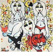 Sale 8968A - Lot 5030 - Yosi Messiah (1964 - ) - Flower Girls 102 x 102 cm (total: 102 x 102 x 4 cm)