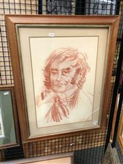 Sale 8903 - Lot 2055 - Charles Billich - Portrait, 1970 conte on paper, 53.5 x 36cm, signed and dated lower