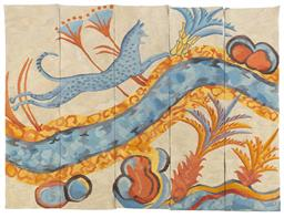 Sale 9130S - Lot 18 - A five panel woven tapestry, Thunder projectwoven by the Victorian Tapestry Workshop in 1997, wool cotton, linen silk and lurex, 96..