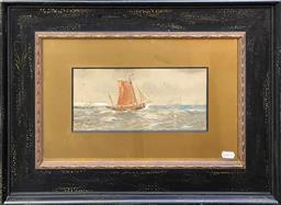 Sale 9127 - Lot 2012 - R Thomas Maritime Scene watercolour and gouache 42 x 56 cm (hand painted frame) -