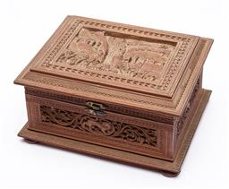 Sale 9170H - Lot 44 - An intricately carved Indo-Persian hinged box with village and hunting scenes, Height 10.5cm x 20.5cm x 16.5cm