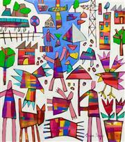 Sale 8339A - Lot 558 - Bruce Earles (1961 - ) - Grey Stone Bay, 2015 82 x 72cm