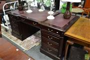 Sale 8489 - Lot 1026 - Timber Twin Pedestal Partners Desk