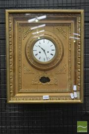 Sale 8500 - Lot 1058 - Austro-Hungarian Biedermeier Gilt Picture Frame Wall Clock, with white enamel dial & silk suspension pendulum with pierced brass bob