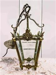 Sale 8577 - Lot 4 - A vintage brass lantern with etched glass and decorative brass frame, with original ceiling canopy, which has been rewired to Austra...