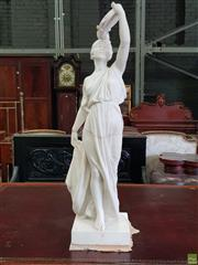 Sale 8617 - Lot 1059 - Early 20th Century French Marble Figure of a Female Musician by Emile Joseph Carlier (1849-1927), wearing a classical style robe & p...