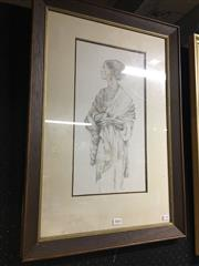 Sale 8695 - Lot 2059 - Artist Unknown - Classical Woman ink, 69 x 48cm (frame), signed lower right