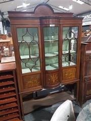 Sale 8714 - Lot 1004 - Edwardian Inlaid & Painted Mahogany Bow Front Display Cabinet, with three astragal doors with painted panels below & open shelf (key...