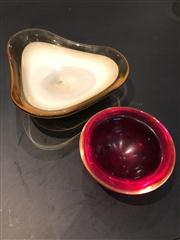 Sale 8761A - Lot 28 - A studio glass bowl in cream and amber of triform shape, W x 22cm together with a semi spherical ruby glass dish of similar vintage,...