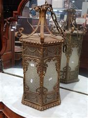 Sale 8774 - Lot 1052 - 1920s/30s Gilt Metal Hexagonal Hall Lantern, with festoon panels & rococo scrolls, the glass frosted