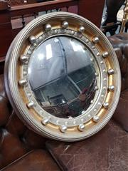 Sale 8814 - Lot 1079 - Contemporary Regency Style Silver & Gilt Convex Mirror, with egg-and-dart border & balls