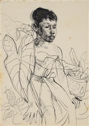 Sale 8892 - Lot 559 - Donald Friend (1914 - 1989) - Boy Seated Amoung Palms, c1954 (Sketch) 50 x 25 cm