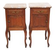 Sale 9015J - Lot 22 - A pair of antique French oak cabinets with rouge marble tops 85 x 40 x 40
