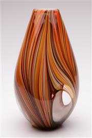 Sale 9052 - Lot 196 - Venetian Polychrome Cased Glass Vase (H: 33cm)