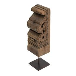 Sale 9140F - Lot 51 - This Toda on metal stand tabletop decor features a square metal base with a  weathered wood design. This transitional tabletop sculp...