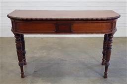 Sale 9196 - Lot 1045 - Regency Cedar Hall or Side Table, the demi-lune top with fine beaded borders & central panel to frieze with painted geometric design...