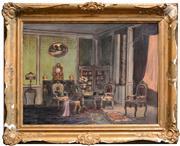 Sale 8297 - Lot 575 - Laszlo Karpathy (XIX - XX) - Interior Scene 60 x 80cm